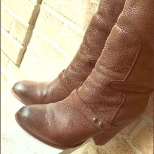 Brown Knee Leather Boots